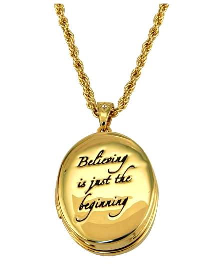 Locket Necklace on Disney Couture Gold Tinkerbell Believe Locket Necklace   Ebay