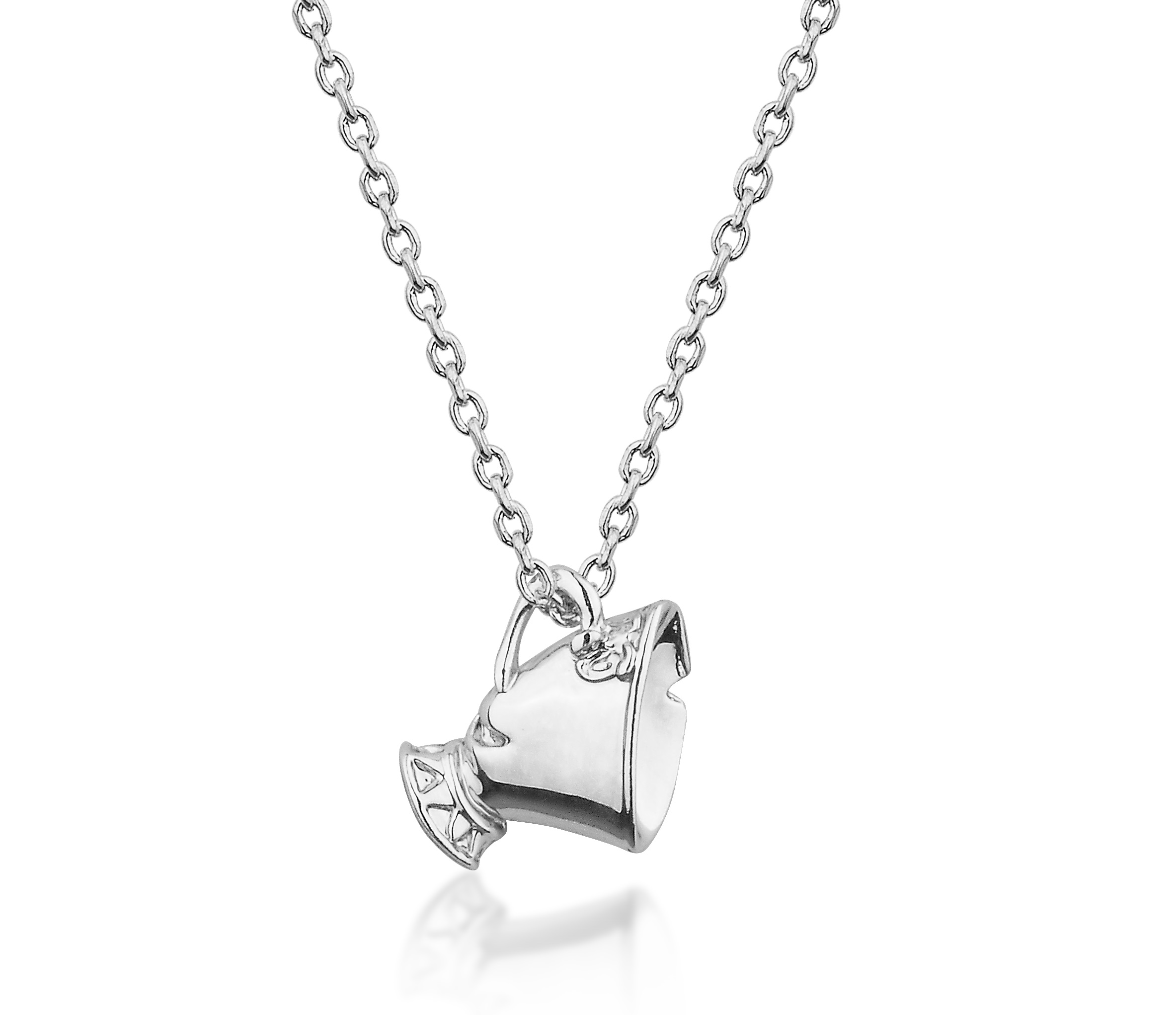 ... JUNIOR Beauty & the Beast White Gold-Plated Chip Tea Cup Necklace