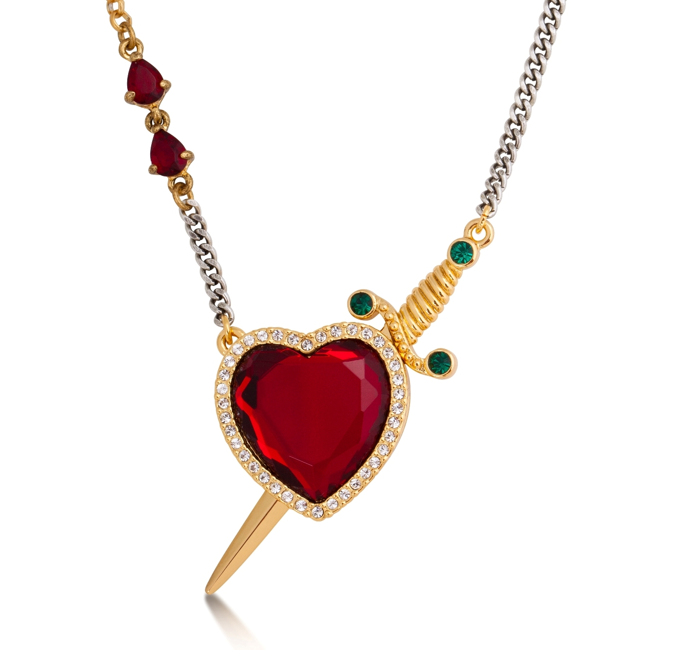 disney couture snow white gold plated red crystal heart