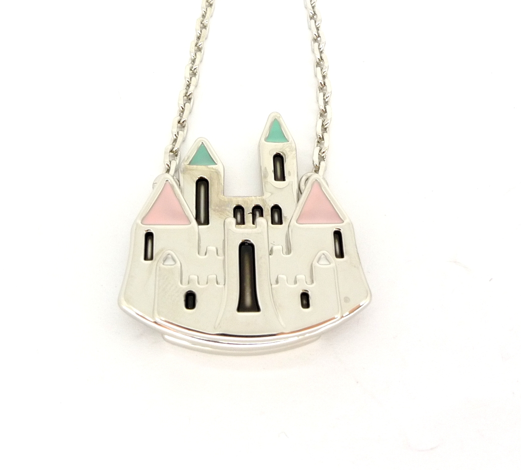 disney couture icon silver plated magic castle necklace ebay