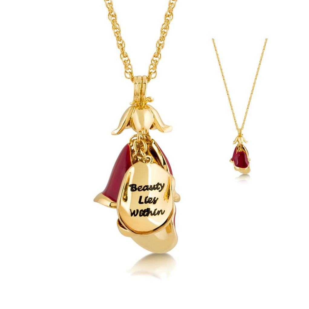 Disney couture gold plated beauty the beast red rose for Disney beauty and the beast jewelry